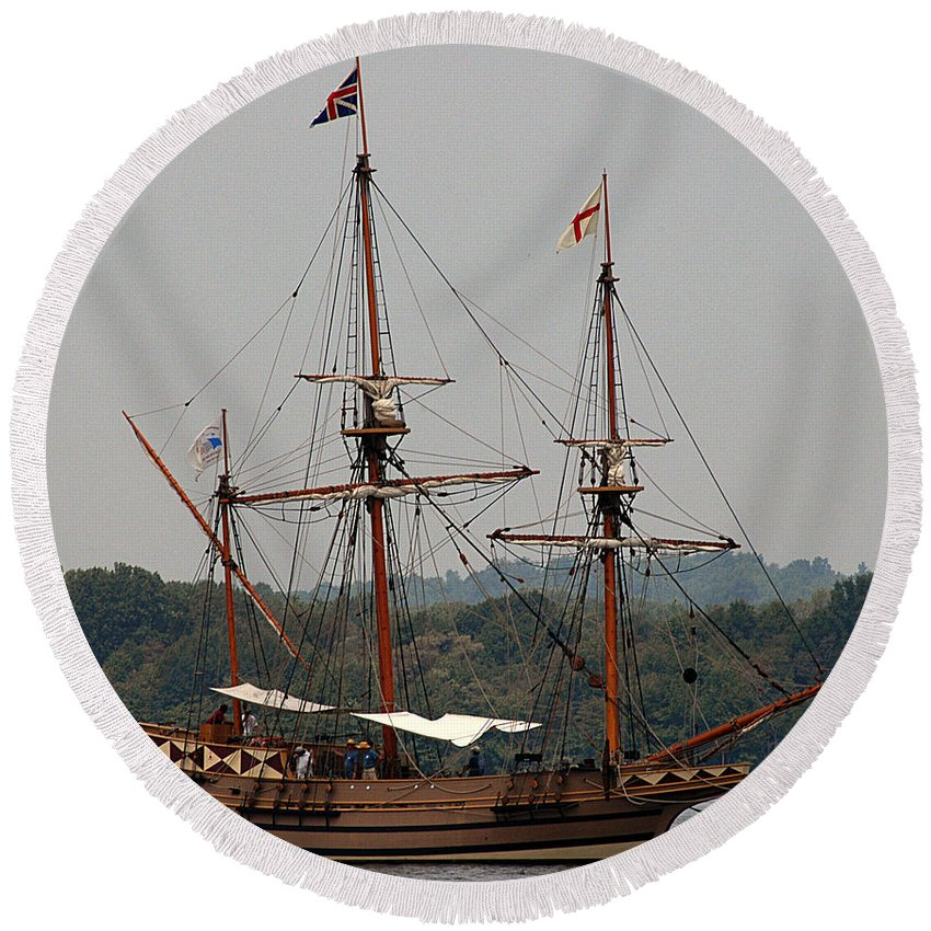 All Rights Reserved Round Beach Towel featuring the photograph The God Speed Tall Ship by Clayton Bruster