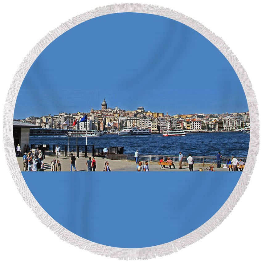 Istanbul Round Beach Towel featuring the photograph The Golden Horn by Ian MacDonald