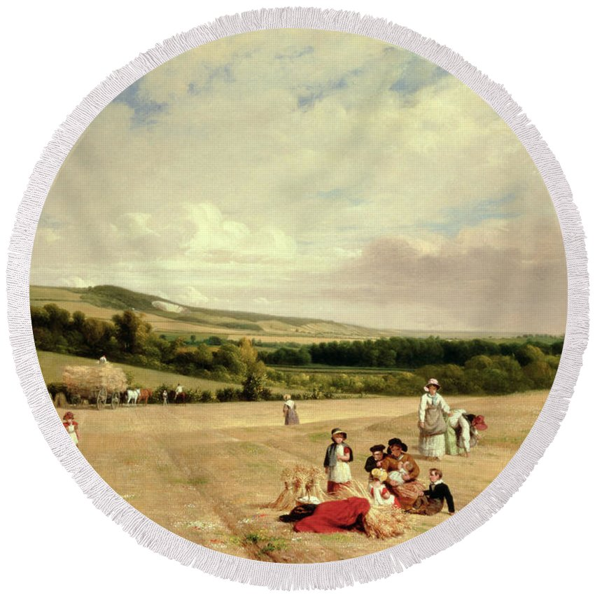 The Harvest Field Round Beach Towel featuring the painting The Harvest Field by William Frederick Witherington