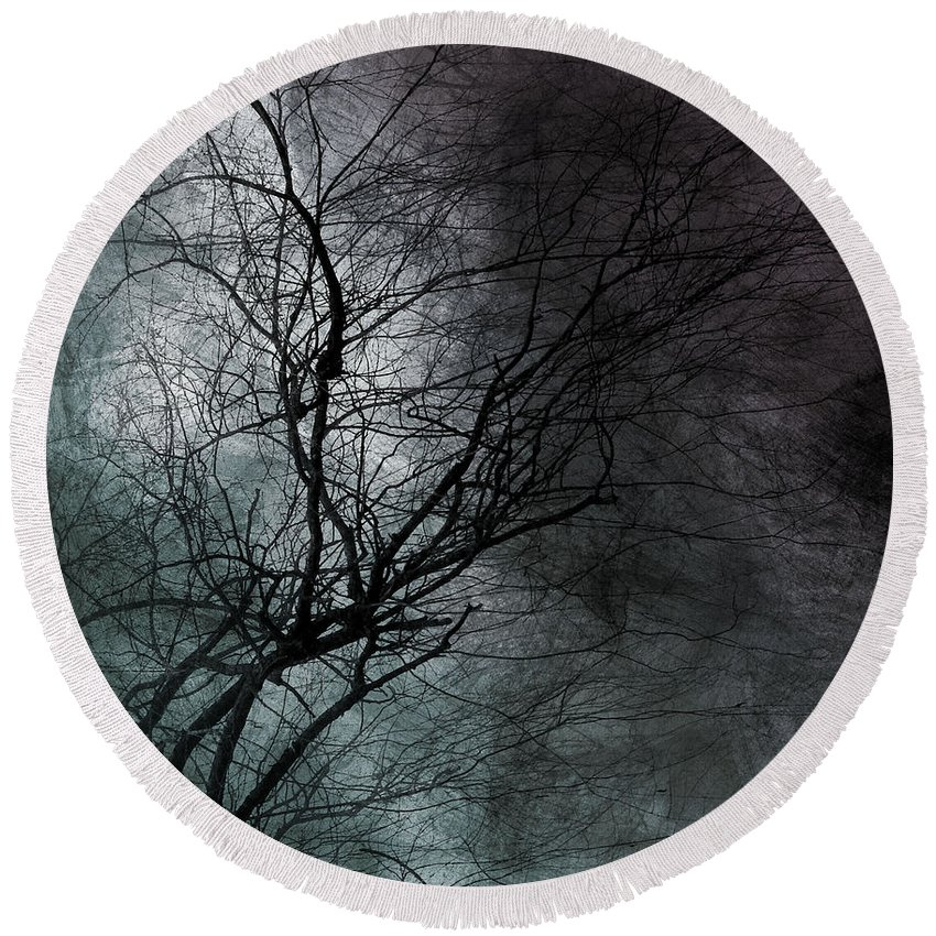 Window Framed Prints Round Beach Towel featuring the photograph The Haze Of The Moon by The Artist Project
