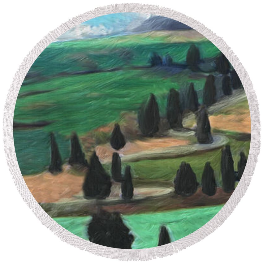 Tuscany Round Beach Towel featuring the digital art The Hill by Peggy Starks