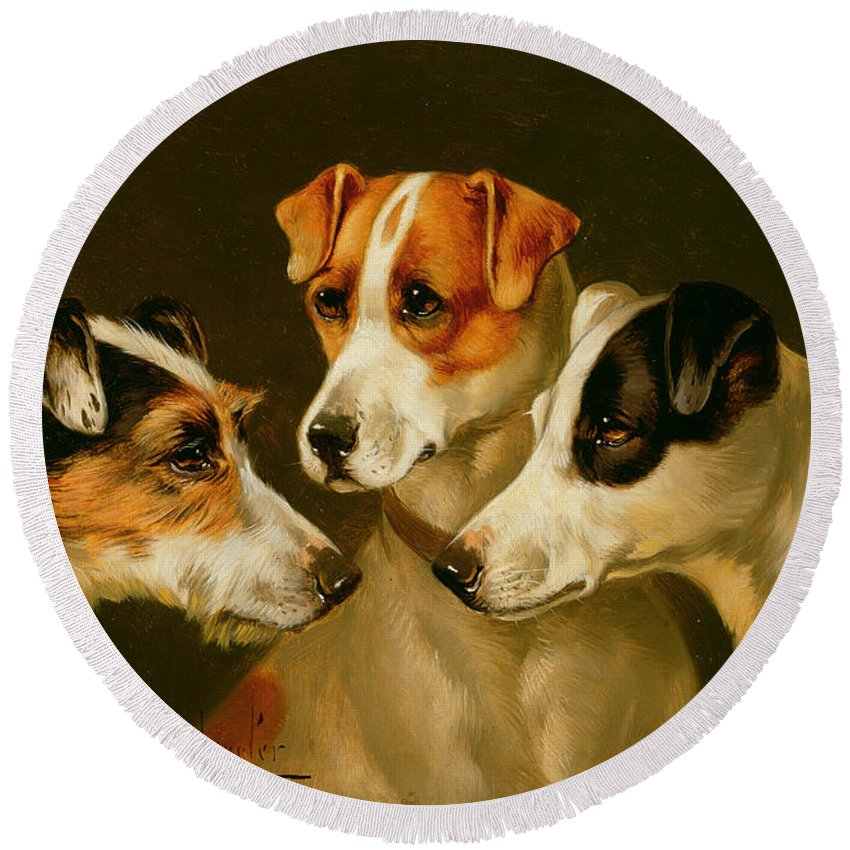 Dog Round Beach Towel featuring the painting The Hounds by Alfred Wheeler