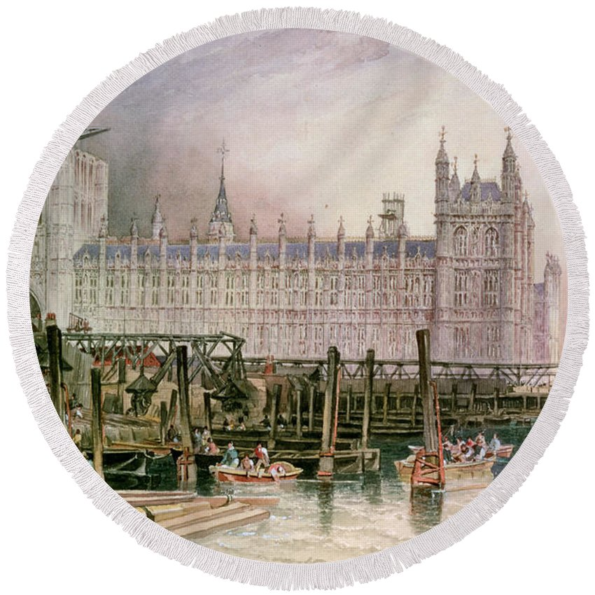 Construction Begun Round Beach Towel featuring the painting The Houses Of Parliament In Course Of Erection by John Wilson Carmichael
