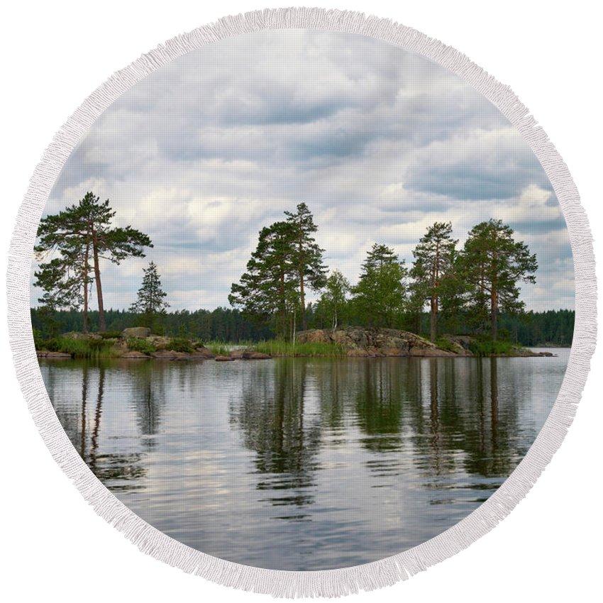 Haukkajärvi Round Beach Towel featuring the photograph The Island In The Middle by Jouko Lehto