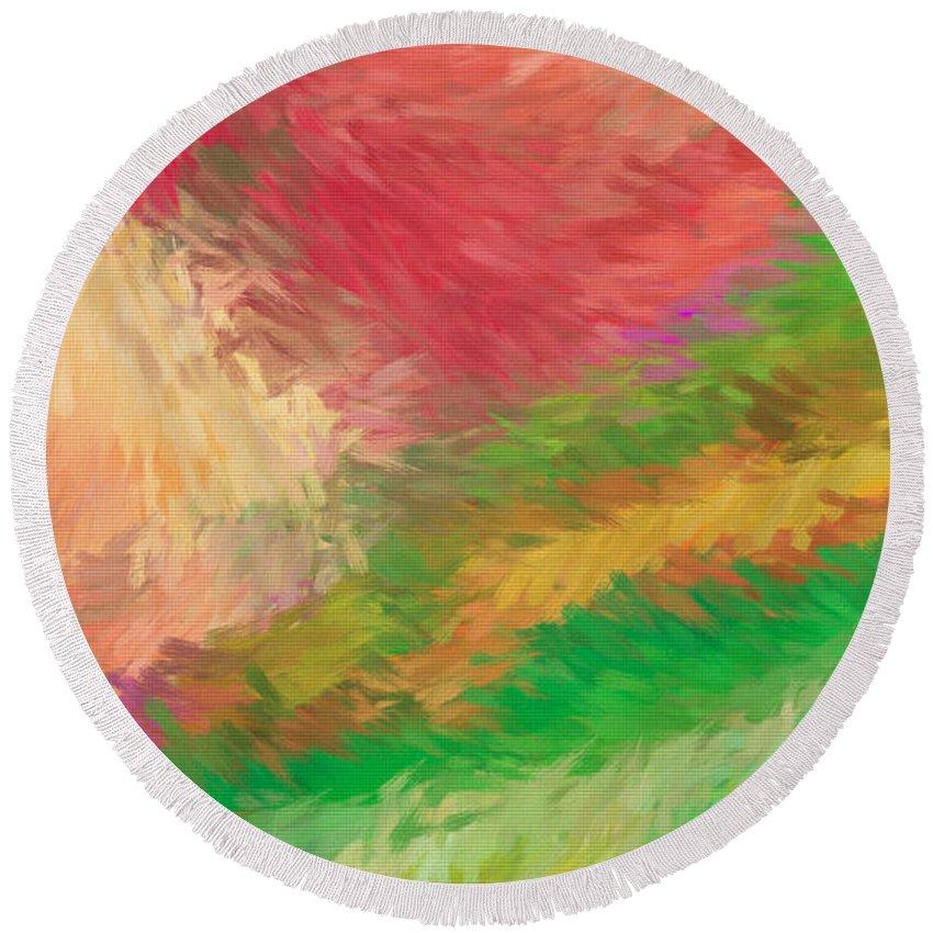 Abstract Round Beach Towel featuring the digital art The Journey by Deborah Benoit