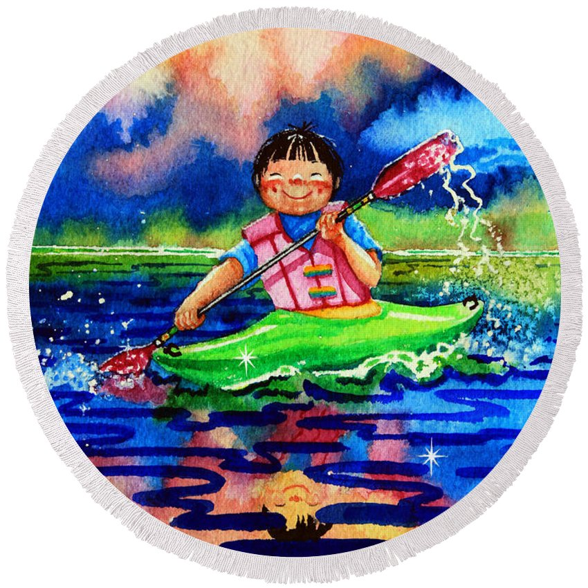 Olympic Picture Book Round Beach Towel featuring the painting The Kayak Racer 11 by Hanne Lore Koehler