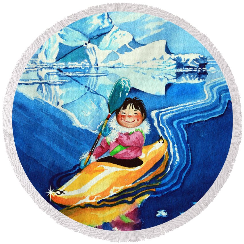 Olympic Picture Book Round Beach Towel featuring the painting The Kayak Racer 13 by Hanne Lore Koehler