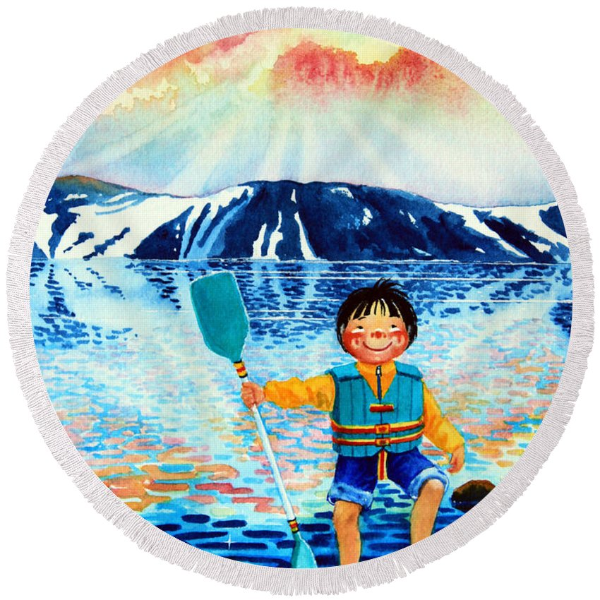 Olympic Dreams Story Round Beach Towel featuring the painting The Kayak Racer 5 by Hanne Lore Koehler