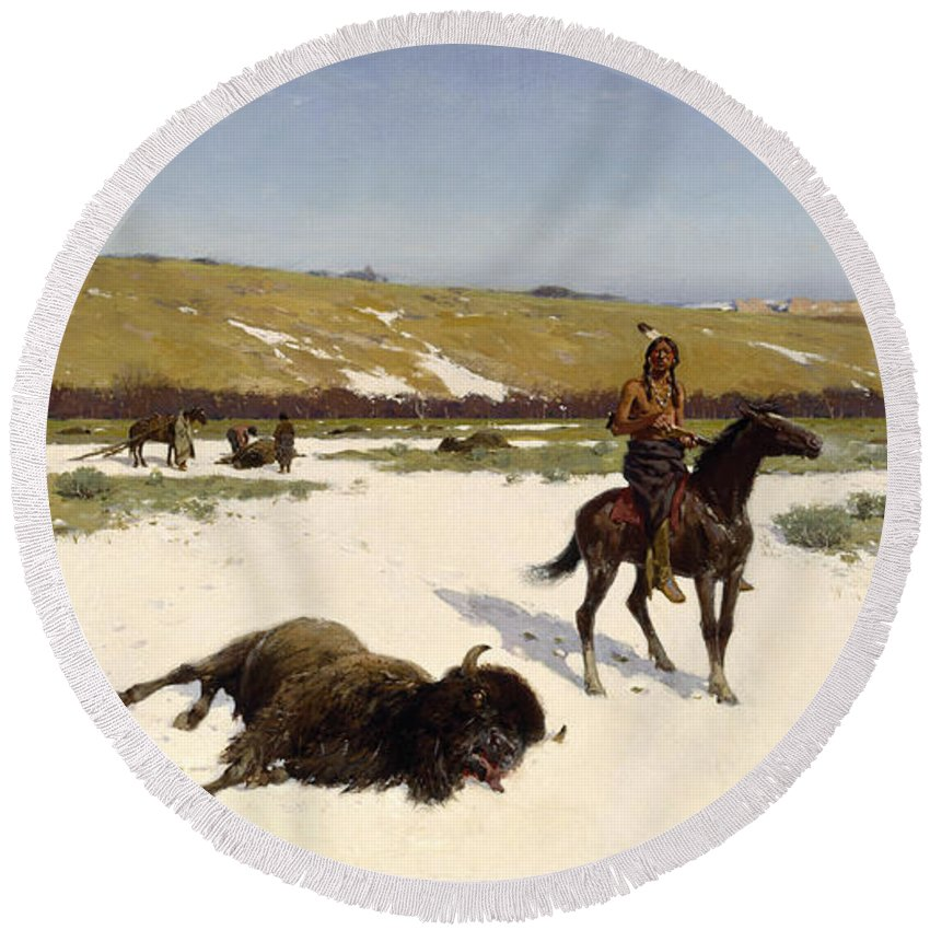 Landscape Round Beach Towel featuring the painting The Last Of The Herd by Henry Francois Farny