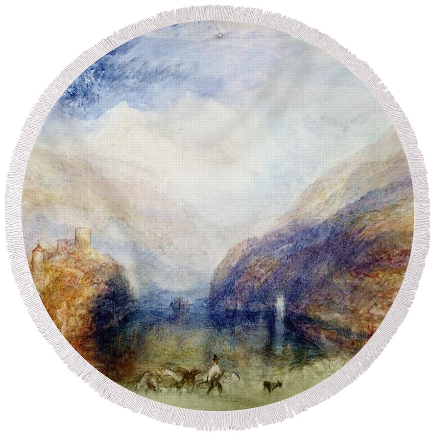 Alps; Alpine; Romantic; Near Schwyz; Mountainous; Castle; Swiss Landscape; Romanticist; Romanticism Round Beach Towel featuring the painting The Lauerzersee With The Mythens by Joseph Mallord William Turner