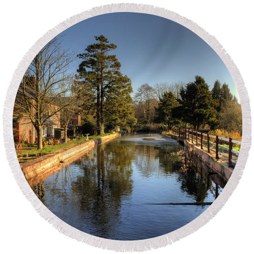 Coldharbour Mill Round Beach Towel featuring the photograph The Leat by Rob Hawkins