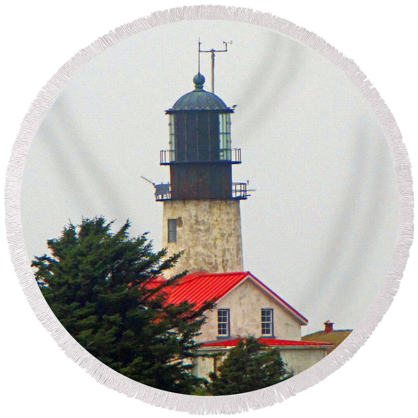 Cape Flattery Round Beach Towel featuring the photograph The Lighthouse Of Tatoosh by Tikvah's Hope
