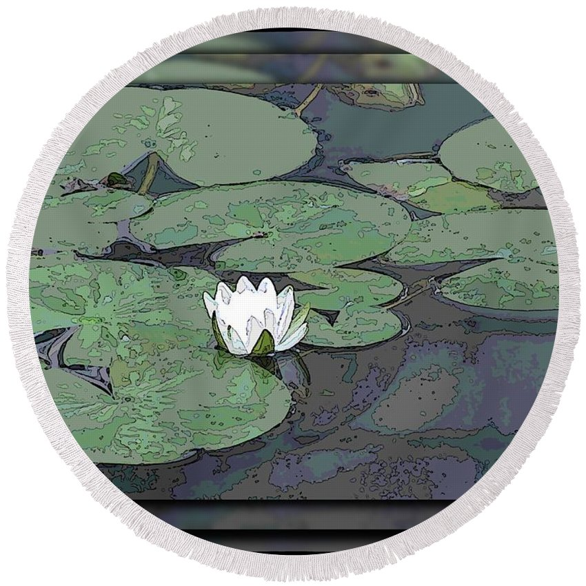 Lily Round Beach Towel featuring the digital art The Lily Bloom by Tim Allen