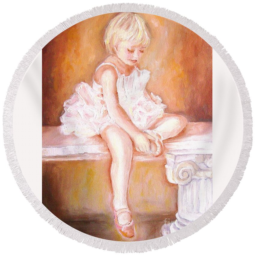 Ballerinas Round Beach Towel featuring the painting The Little Ballerina by Carole Spandau