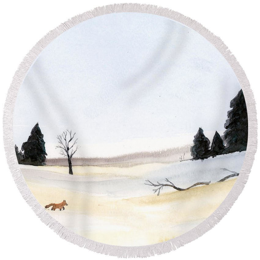 Fox Round Beach Towel featuring the painting The Little Fox by Jackie Irwin