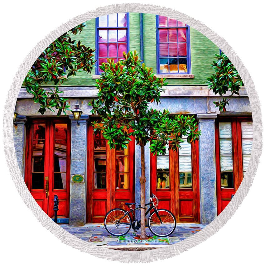 The Locked Bicycle - New Orleans Round Beach Towel featuring the photograph The Locked Bicycle - New Orleans by Bill Cannon