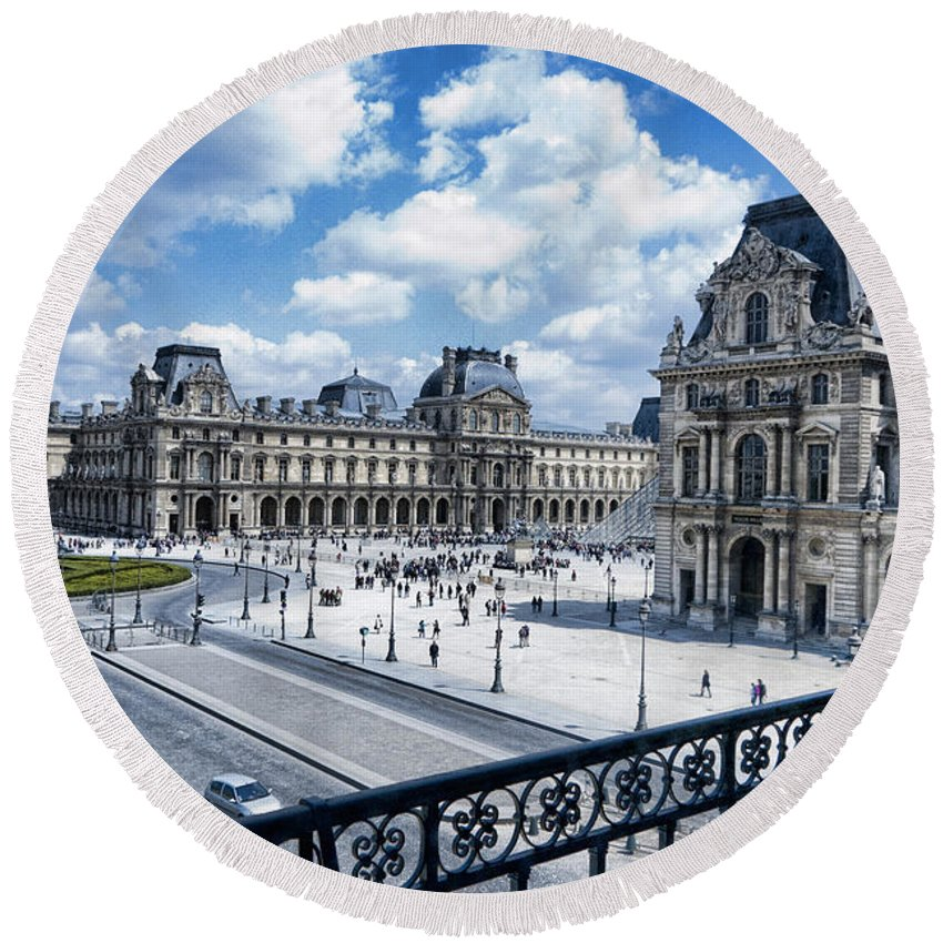 France Round Beach Towel featuring the photograph The Louvre by Jon Berghoff