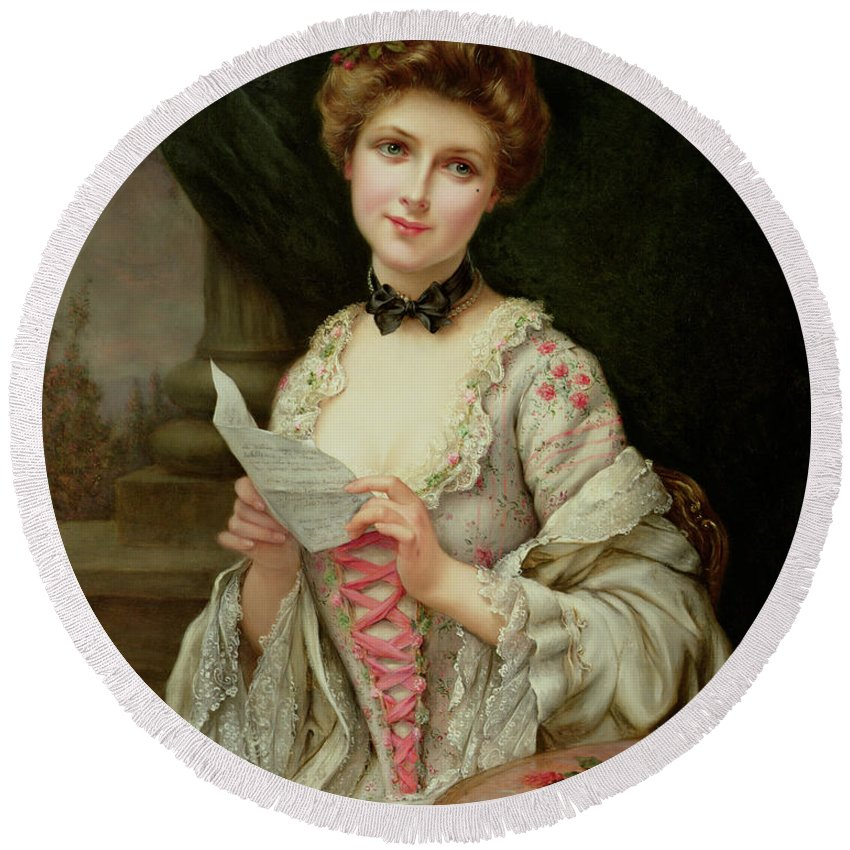 Billet Doux; Female; Seated; Sitting; Roses; Fan; Black Bow; Wistful; Pretty; Costume; Dress; Beauty; Jewellery; Jewelry; In Love; Valentine; Beauty Round Beach Towel featuring the painting The Love Letter by Francois Martin-Kayel