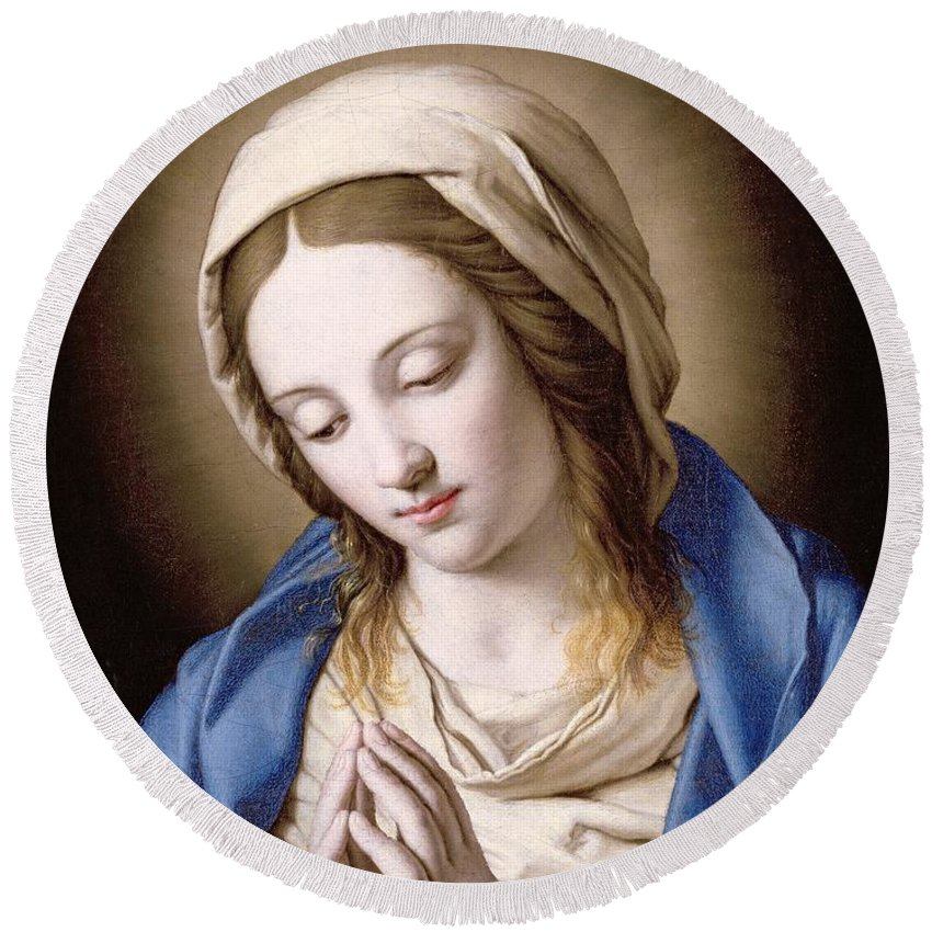 Mary Round Beach Towel featuring the painting The Madonna Praying by Il Sassoferrato