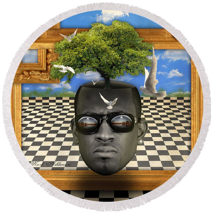 Surrealism Round Beach Towel featuring the digital art The Man And The Tree by Mark Ashkenazi