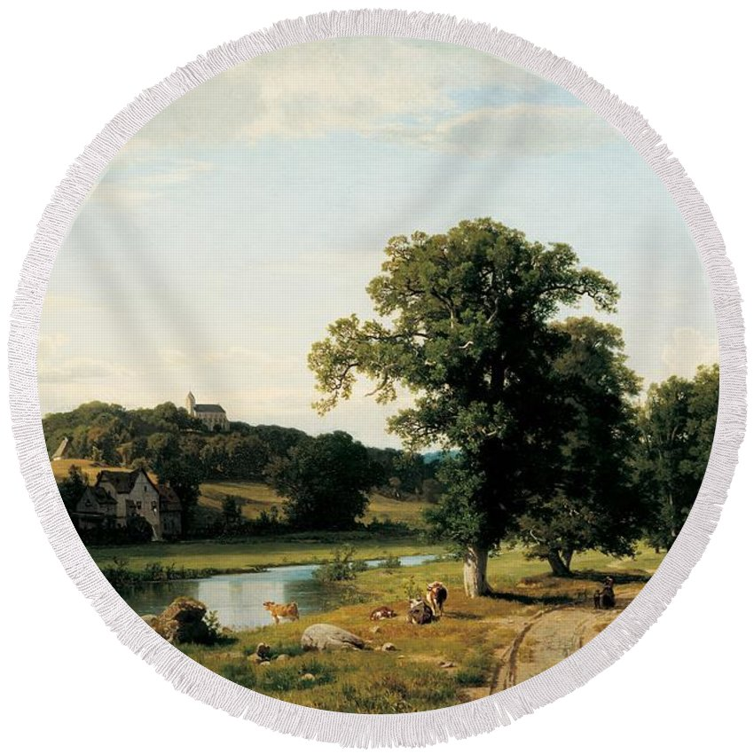 American Round Beach Towel featuring the painting The Mill by Thomas Worthington Whittredge