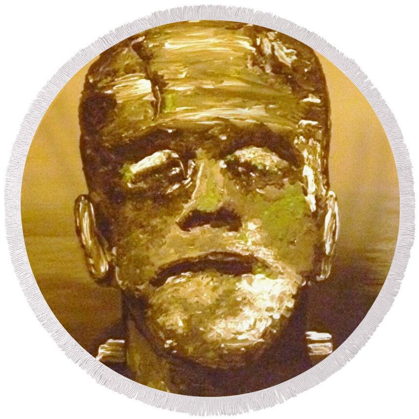 Sepia Round Beach Towel featuring the painting The Monster II by Alys Caviness-Gober