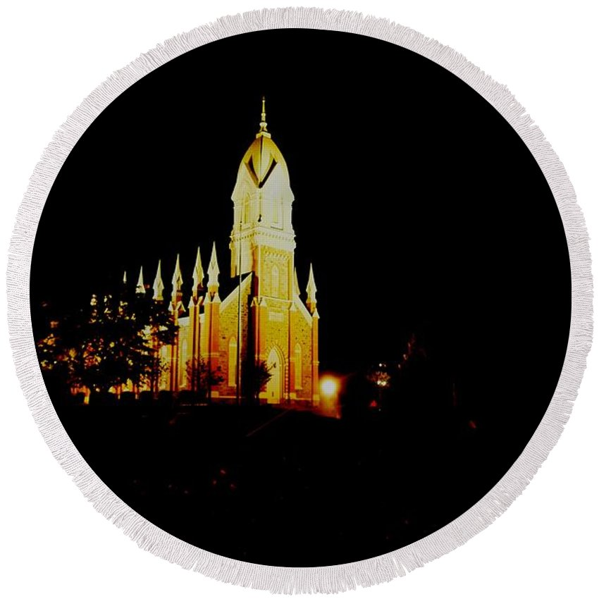 Night Photos Round Beach Towel featuring the photograph The Morman Temple In Brigham City by Jeff Swan