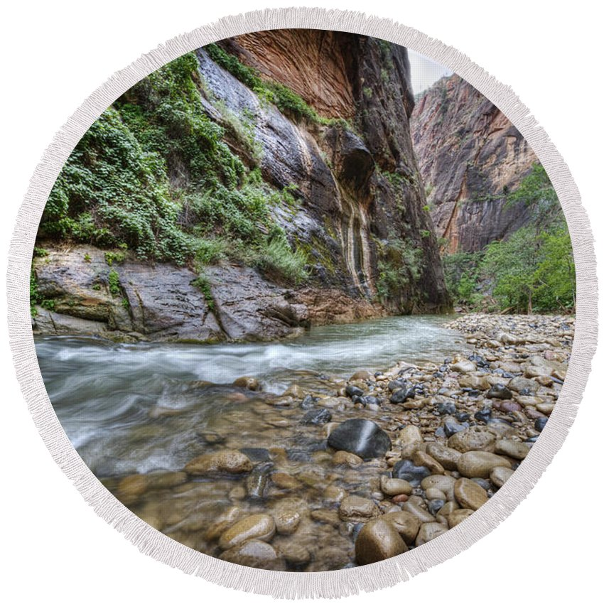 Narrows Round Beach Towel featuring the photograph The Narrows 2 by Jessica Velasco