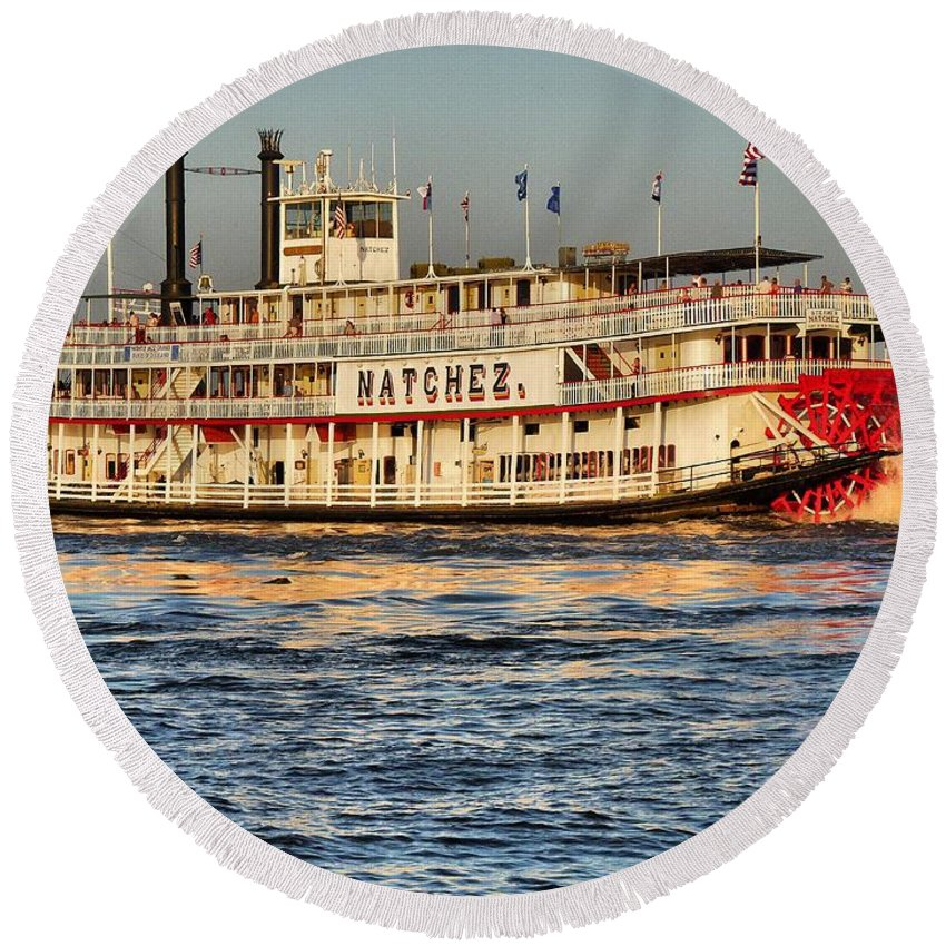 Color Image Round Beach Towel featuring the photograph The Natchez Riverboat by Anthony Walker Sr