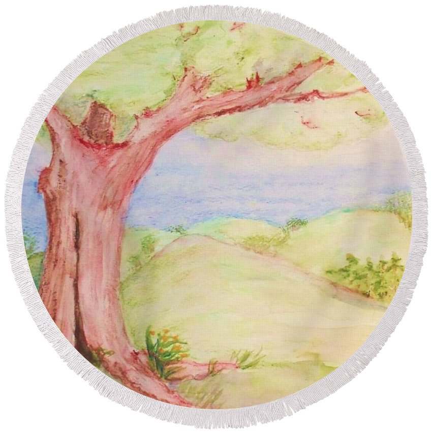 Round Beach Towel featuring the painting The Old Tree by Debbie Portwood