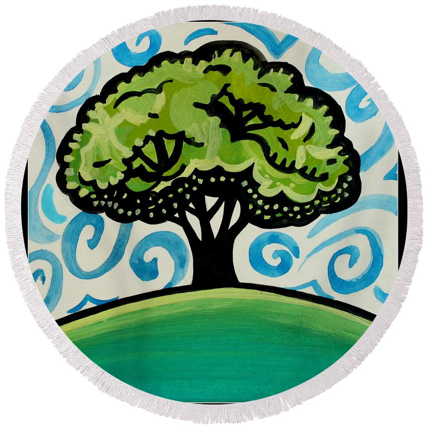 Landscape Round Beach Towel featuring the painting The Only Remaining Vestige by Elizabeth Robinette Tyndall