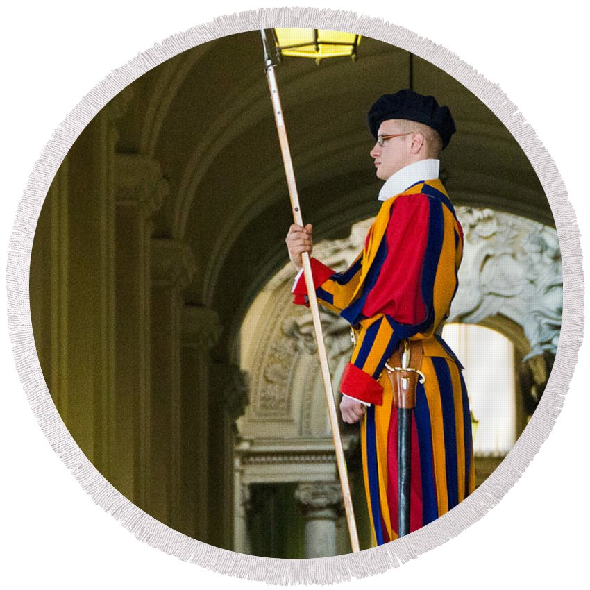 Swiss Guard Round Beach Towel featuring the photograph The Papal Swiss Guard by Jon Berghoff