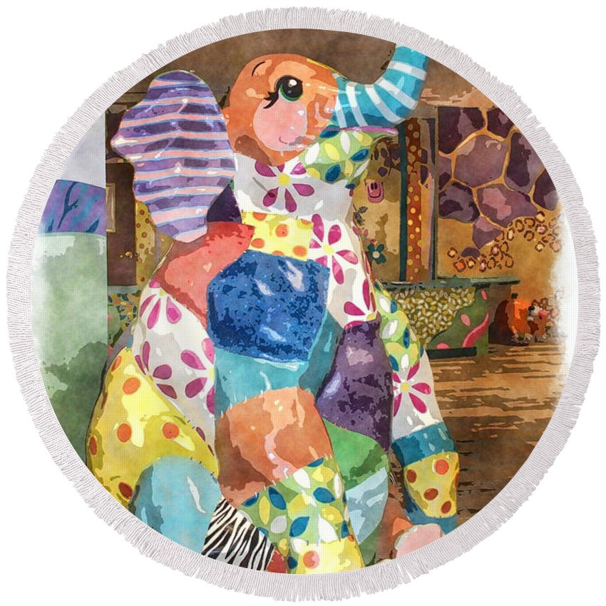 Round Beach Towel featuring the photograph The Patchwork Elephant Art by Debbie Portwood