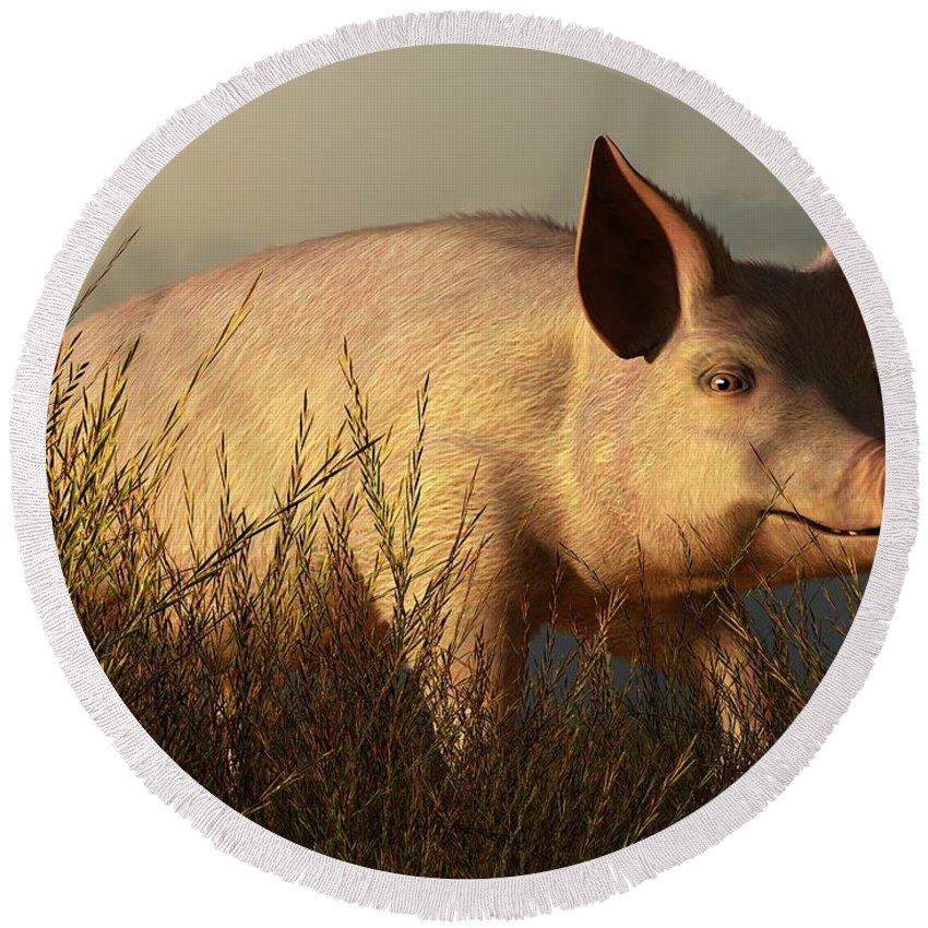 Pig Round Beach Towel featuring the digital art The Pink Pig by Daniel Eskridge