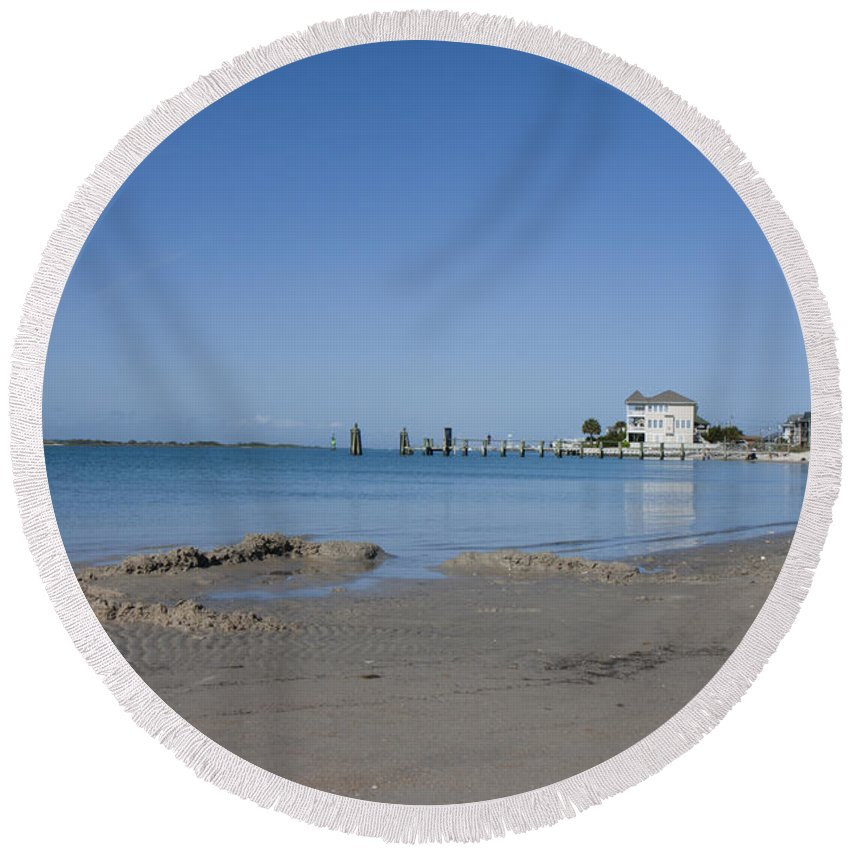 Topsail Round Beach Towel featuring the photograph The Point by Betsy Knapp