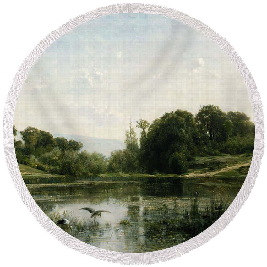 Barbizon School Round Beach Towel featuring the painting The Pond At Gylieu by Charles Francois Daubigny