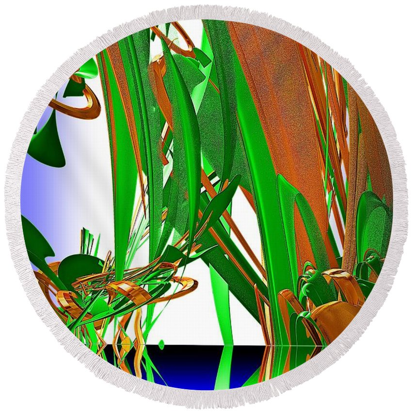 Abstract Round Beach Towel featuring the photograph The Pond by Leslie Revels