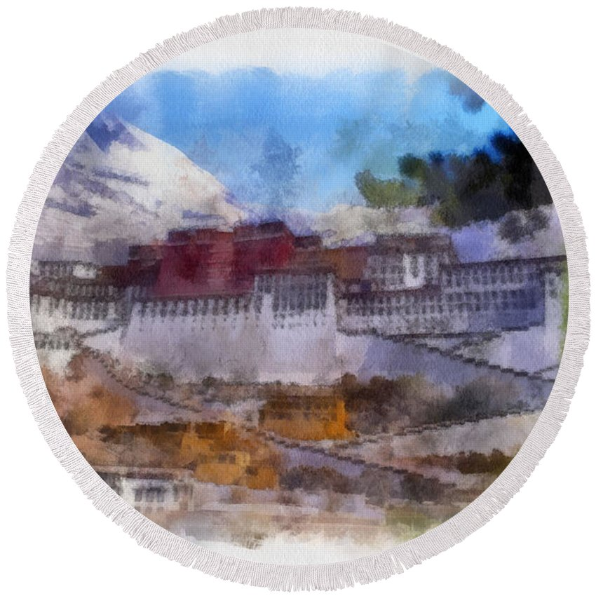 Potala Round Beach Towel featuring the photograph The Potala Of The Alps by Mario Carini