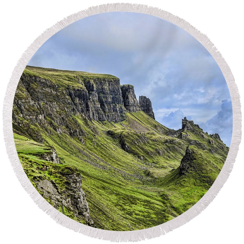 The Quiraing Round Beach Towel featuring the photograph The Quiraing 2 by Chris Thaxter