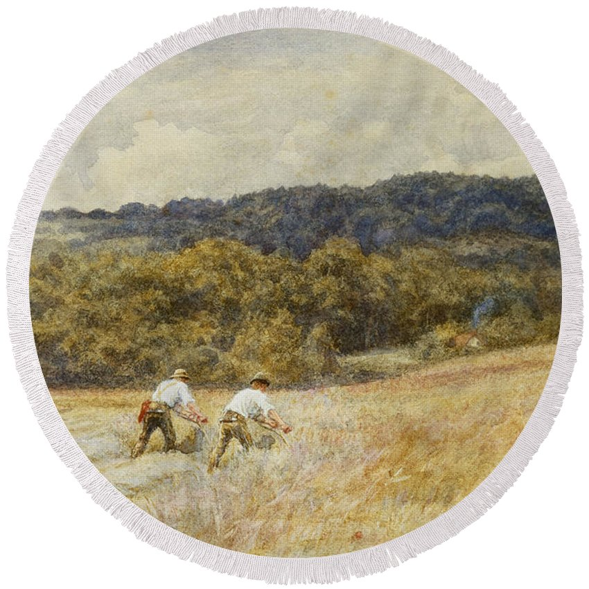 Reaper; Reaping; Farming; Agriculture; Agricultural; Harvest; Harvesting; Corn; C19th; C20th; Male; Worker; Workers; Farm;l Abourers; Working Round Beach Towel featuring the painting The Reapers by Helen Allingham