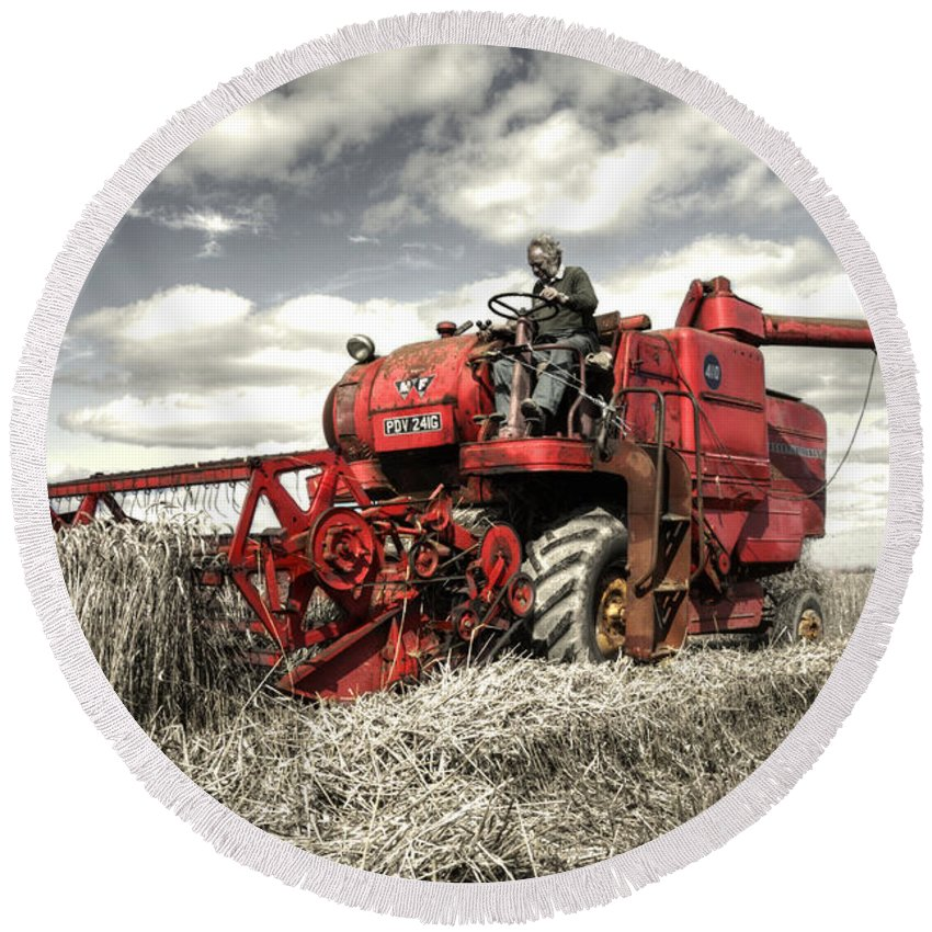 Massey Round Beach Towel featuring the photograph The Red Combine by Rob Hawkins