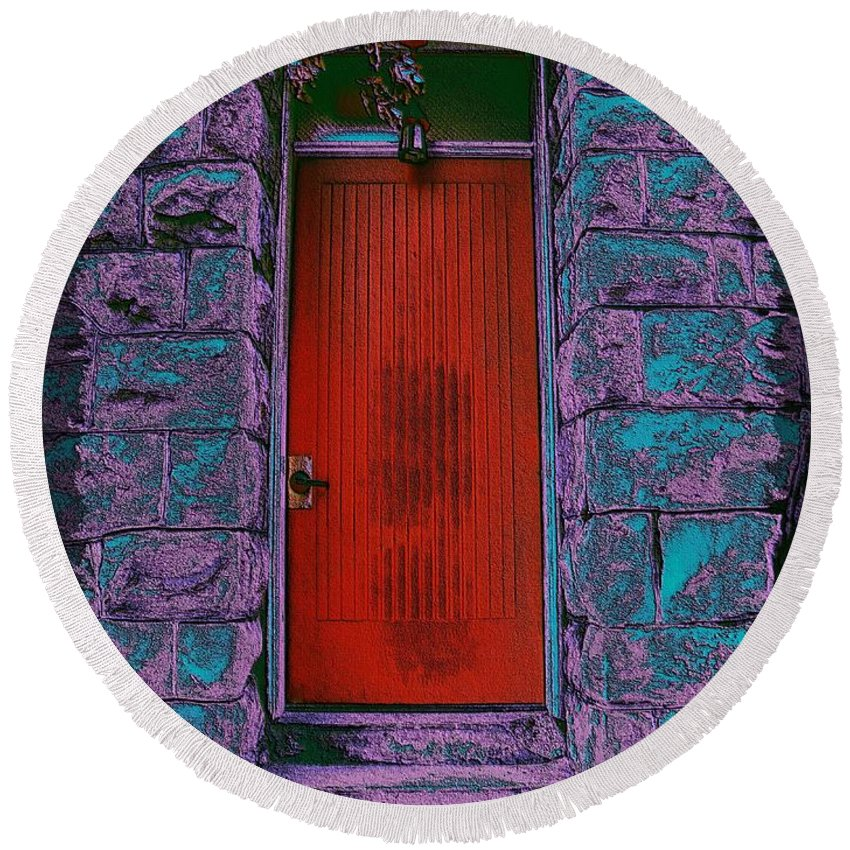 Door Round Beach Towel featuring the digital art The Red Door by Tim Allen