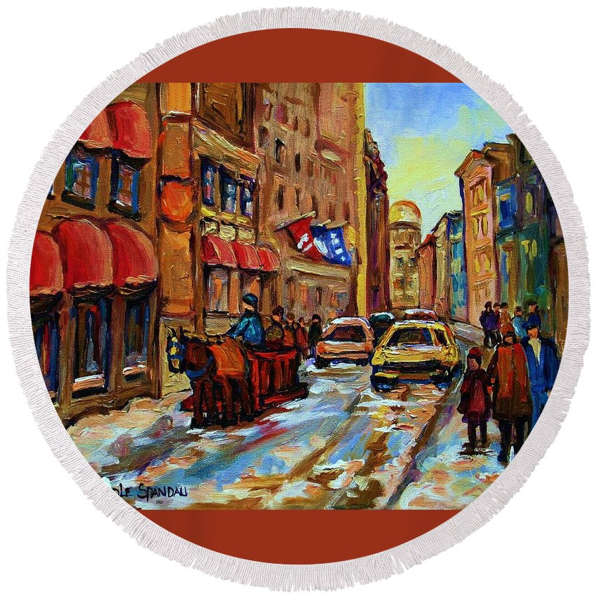 Horses Round Beach Towel featuring the painting The Red Sled by Carole Spandau