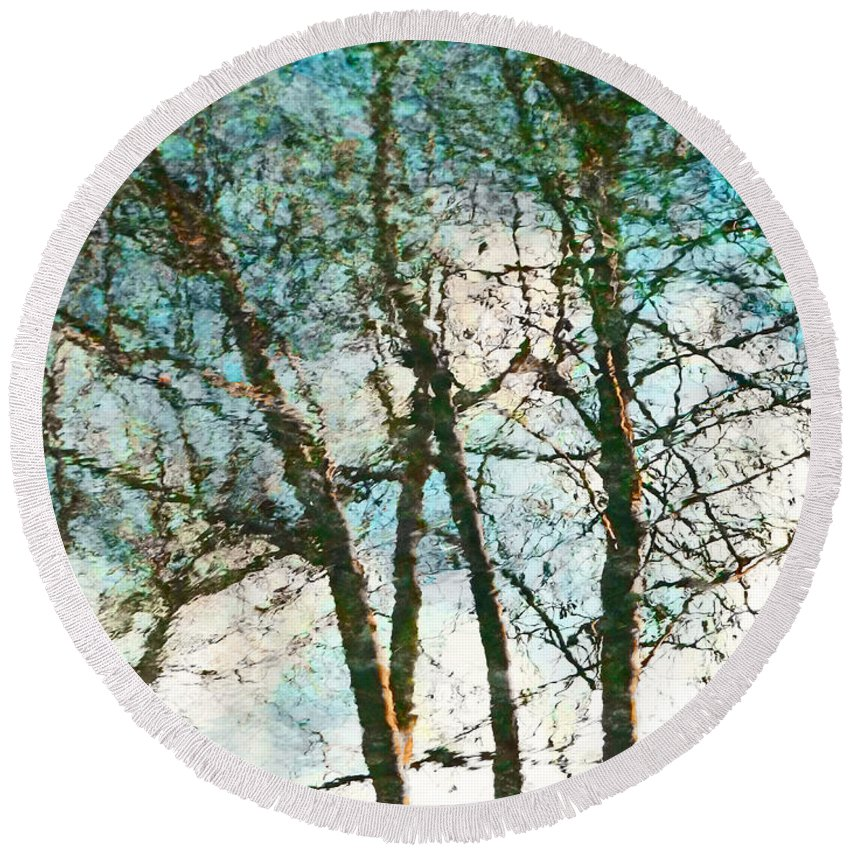 Monet Round Beach Towel featuring the photograph The Reflected Trees by Steve Taylor