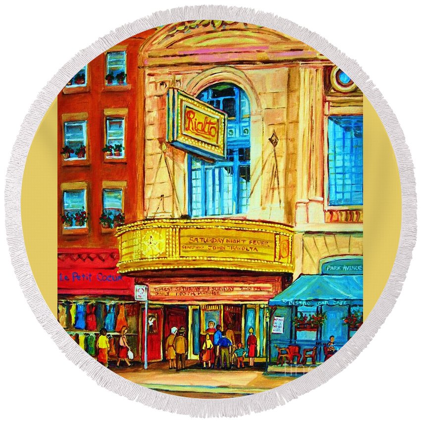 Street Scene Round Beach Towel featuring the painting The Rialto Theatre by Carole Spandau