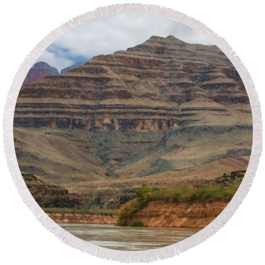 The Riverbend-grand Canyon Round Beach Towel featuring the photograph The Riverbend-grand Canyon Perspective by Douglas Barnard