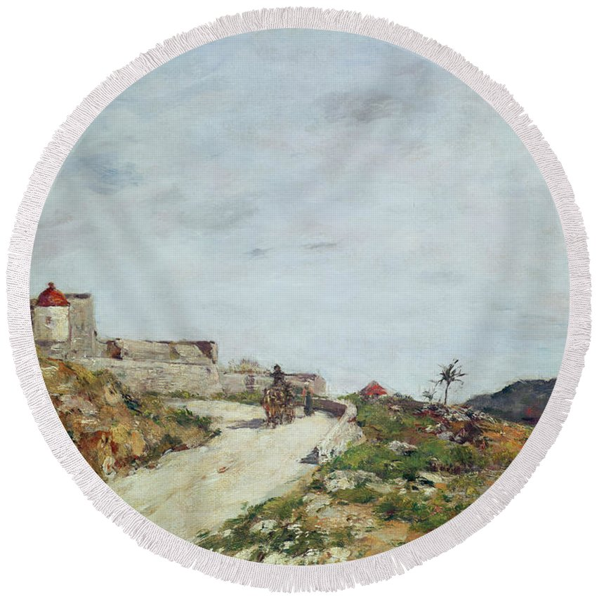 The Round Beach Towel featuring the painting The Road To The Citadel At Villefranche by Eugene Louis Boudin