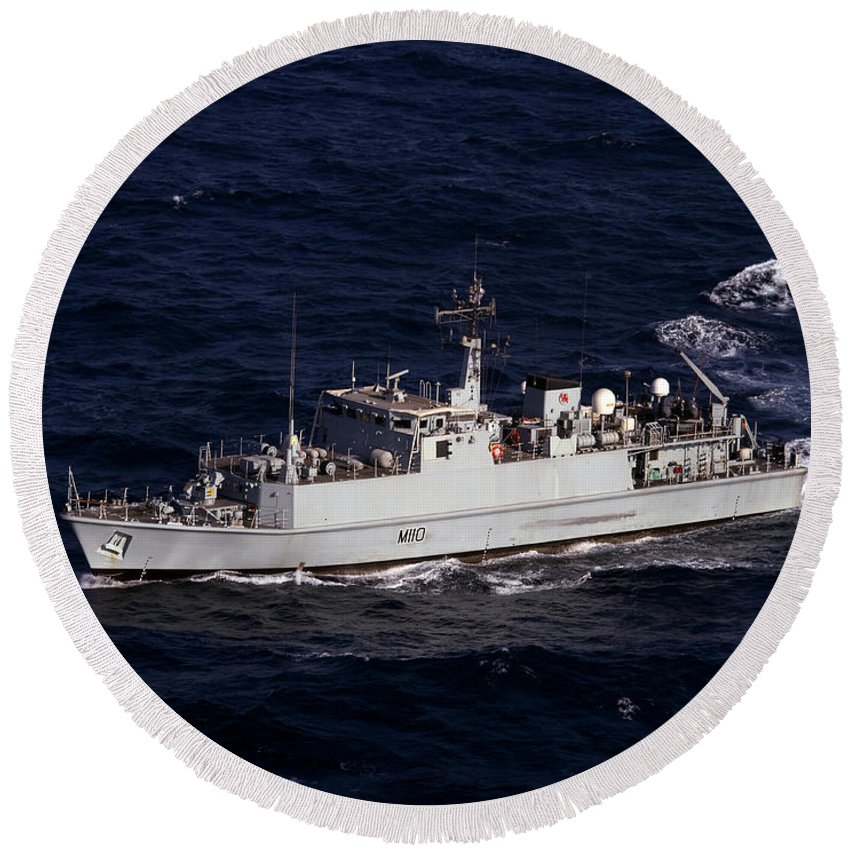 Navy Round Beach Towel featuring the photograph The Royal Navy Mine Countermeasures by Stocktrek Images