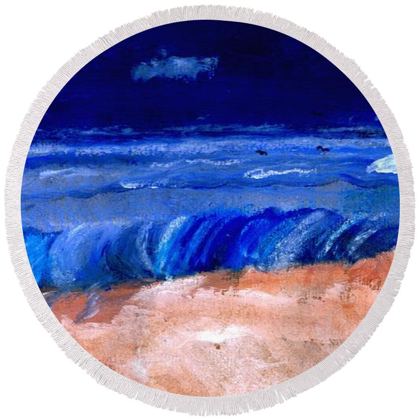 Ocean Round Beach Towel featuring the painting The Sea by Melvin Moon