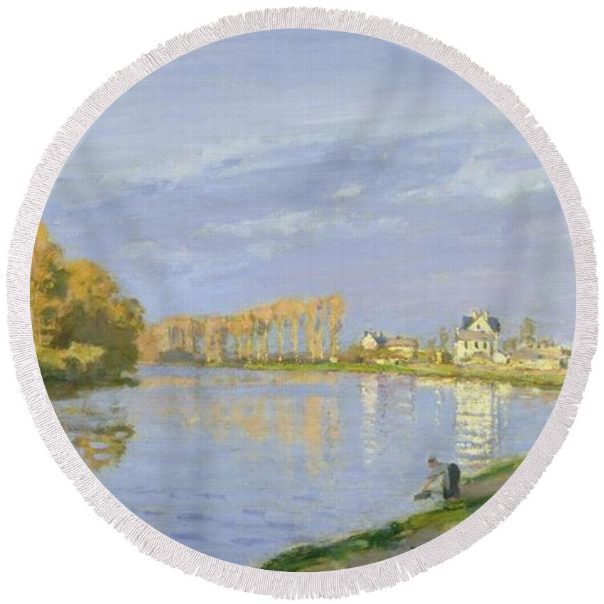 The Round Beach Towel featuring the painting The Seine At Bougival by Claude Monet